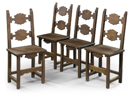 A SET OF FOUR ITALIAN WALNUT S