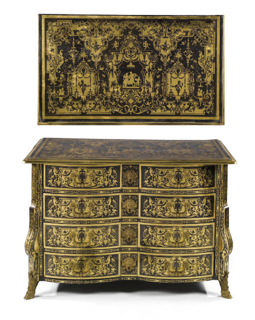 A LOUIS XIV GILT BRONZE MOUNTED BRASS INLAID TORTOISESHELL COMMODE