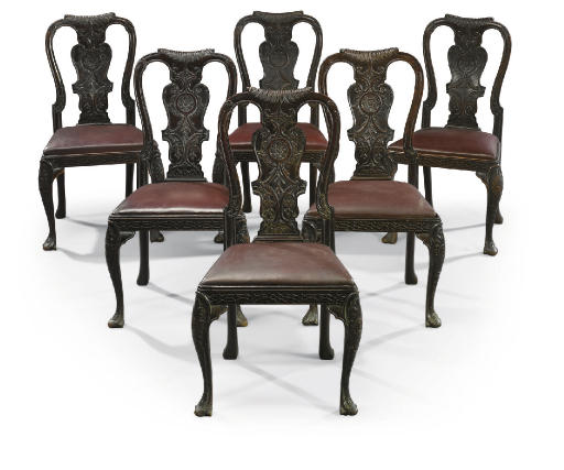A SET OF SIX CARVED MAHOGANY D