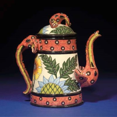 AN ELEPHANT TEAPOT AND COVER