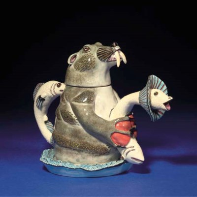 A SEAL TEAPOT AND COVER