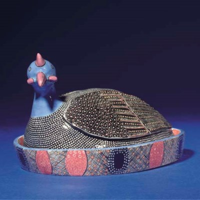 A GUINEA FOWL BUTTER DISH AND