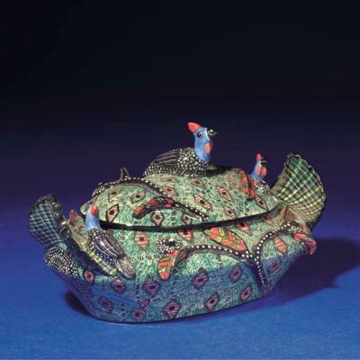 A GUINEA FOWL TUREEN AND COVER