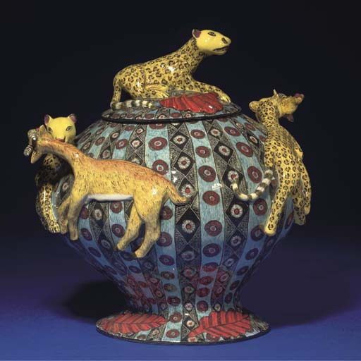 A LEOPARD AND BUCK TUREEN AND