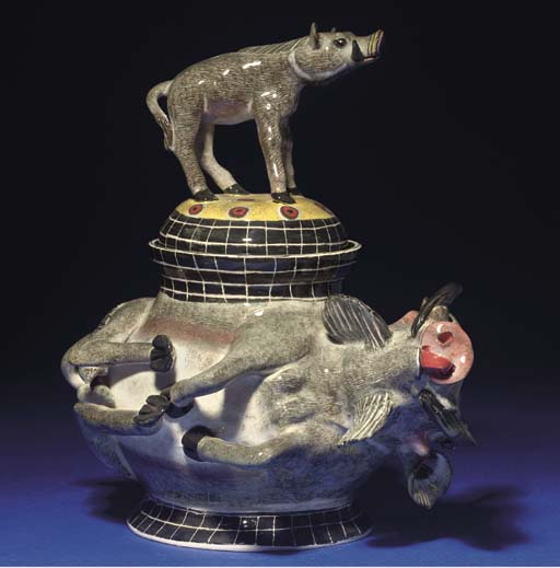 A WARTHOG TUREEN AND COVER