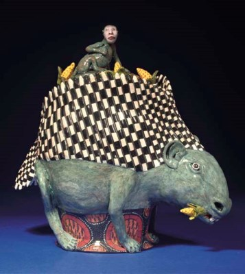 A PORCUPINE TUREEN AND COVER