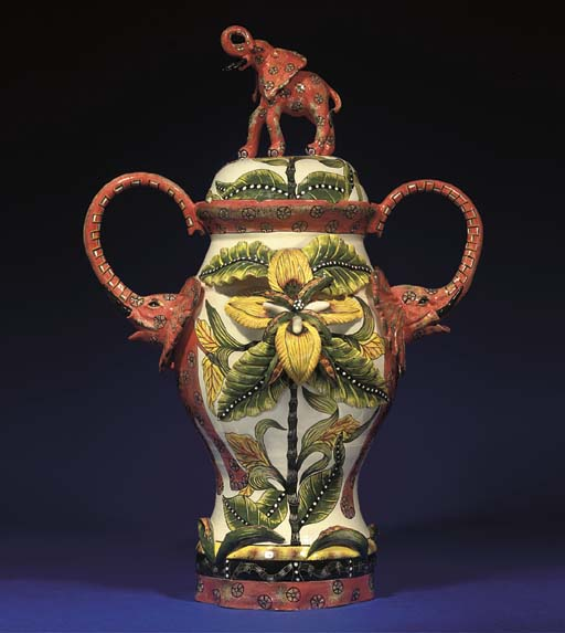 AN ELEPHANT URN AND COVER