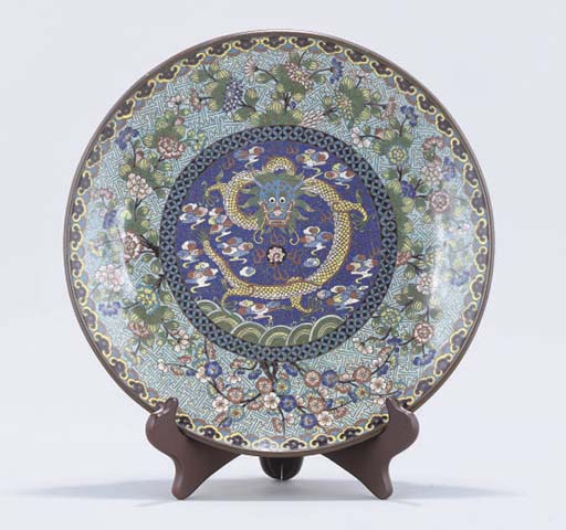 A Chinese cloisonne charger, 19th Century