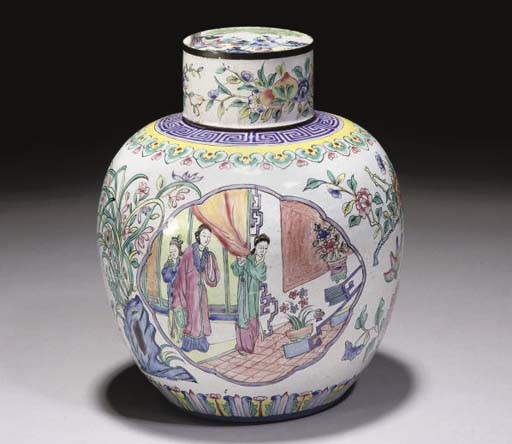 A Chinese famille rose Canton enamel jar and cover, 19th century