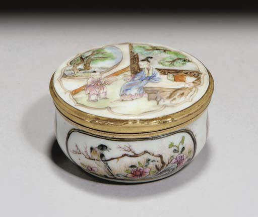 A CHINESE ORMOLU MOUNTED PORCELAIN SNUFF BOX, 18TH CENTURY