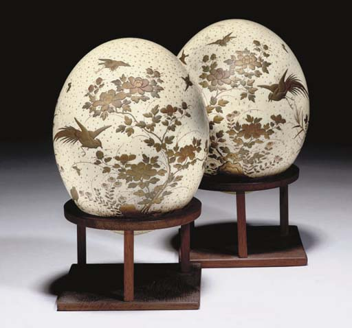 A pair of Japanese gilt-lacquered ostrich eggs, 19th Century
