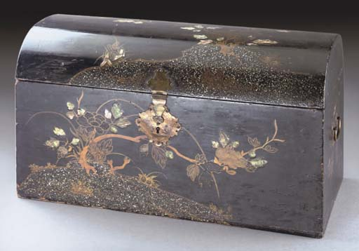 A Japanese lacquered wooden coffer and domed cover, mid 17th century