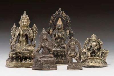 Five Tibetan bronze Buddhistic