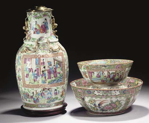 A Canton famille rose vase and