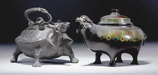 A Japanese bronze censer and c