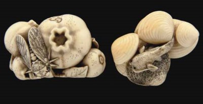 Two ivory netsuke, signed Okat
