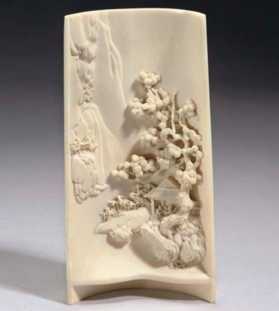 A Chinese carved ivory wrist r