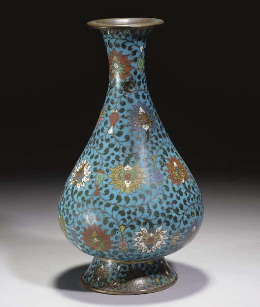 A Chinese cloisonne bottle vas