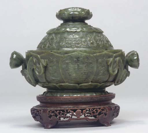 A Chinese spinach jade lotus c