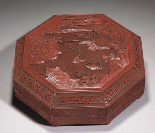 A Chinese cinnabar lacquer oct