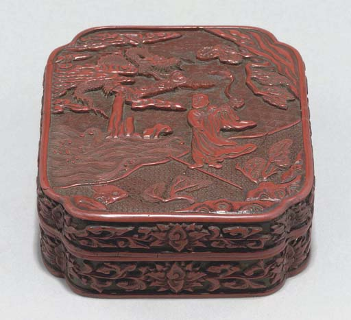A Chinese carved red lacquer b