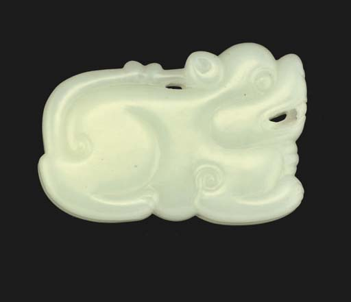 A Chinese white jade animal ca