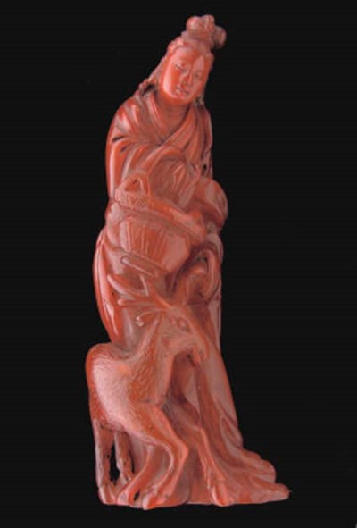 A Chinese buffalo horn figure