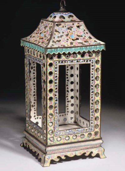 A Cantonese enamel lantern and