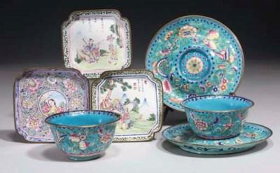 A pair of Canton enamel teacup