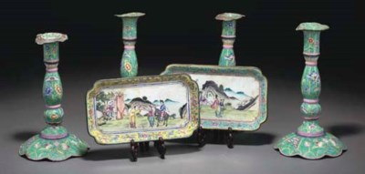 Two pairs of Canton enamelled
