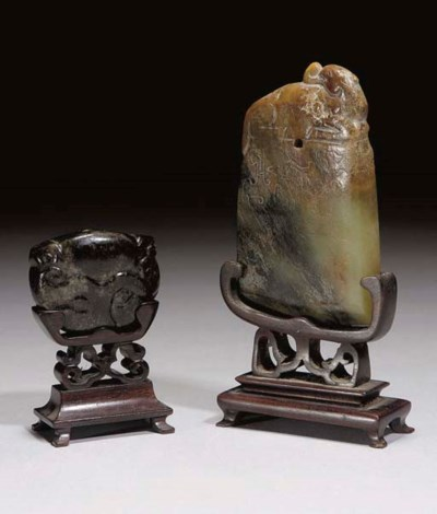 Two Chinese celadon and black