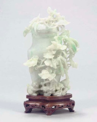 A Chinese jadeite vase and cov