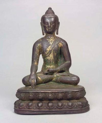 A Tibetan bronze Buddha, 17th/