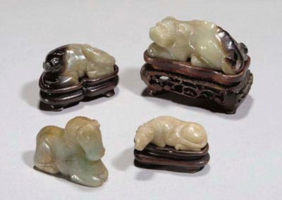 Three Chinese celadon jade car
