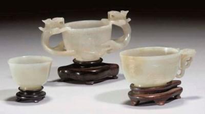 Three Chinese celadon jade cup
