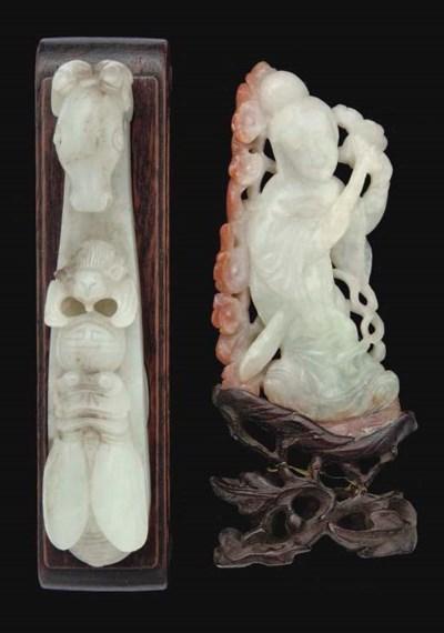 A Chinese celadon jade belt ho