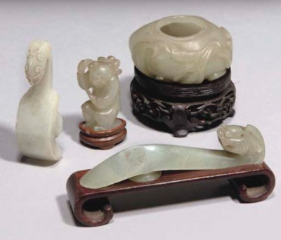 Four chinese celadon jade carv