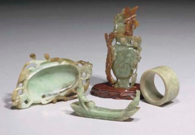 Four Chinese jadeite carvings,
