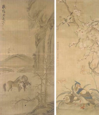Two Chinese hanging scrolls, 1