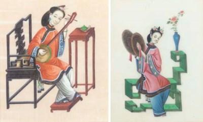 Seven Chinese ricepaper painti