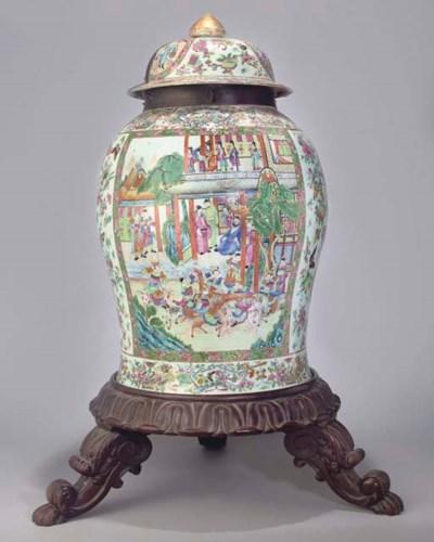 A large Canton baluster jar an