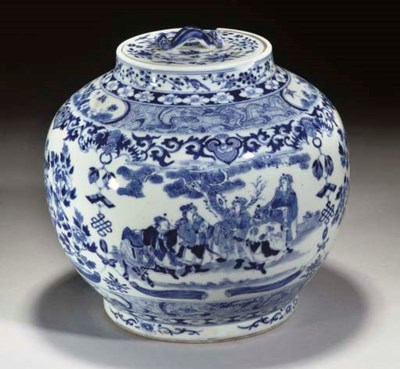 A Chinese blue and white bulbo
