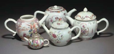 Ten Chinese teapots and nine c