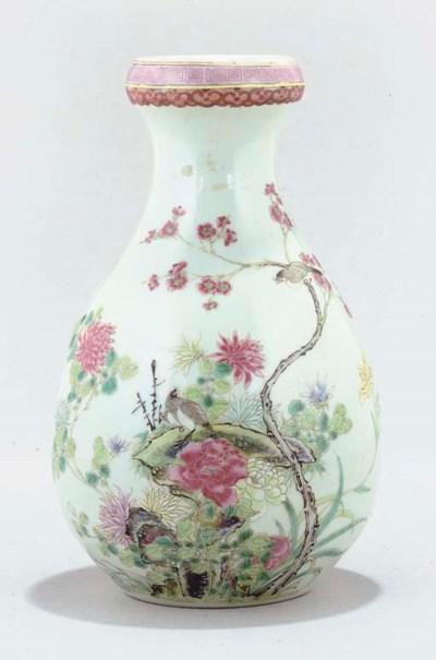 A famille rose vase, 19th cent
