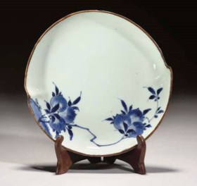 A Chinese blue and white peach-shaped dish, Tianqi