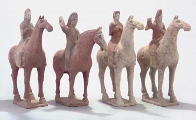 Four Chinese equestrian potter