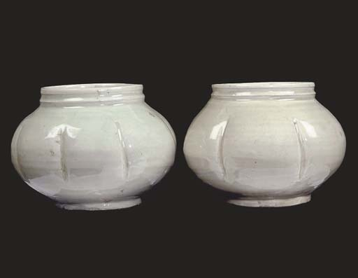 Two similar Chinese lobed jars