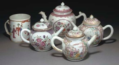 Four Chinese famille rose teap