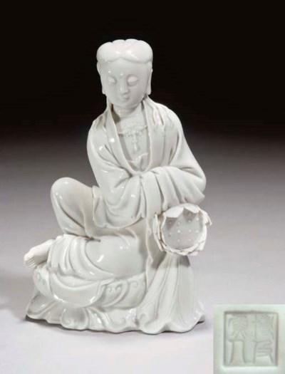 A Chinese blanc-de-chine figur