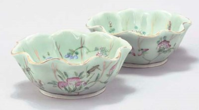 A pair of Chinese celadon fami